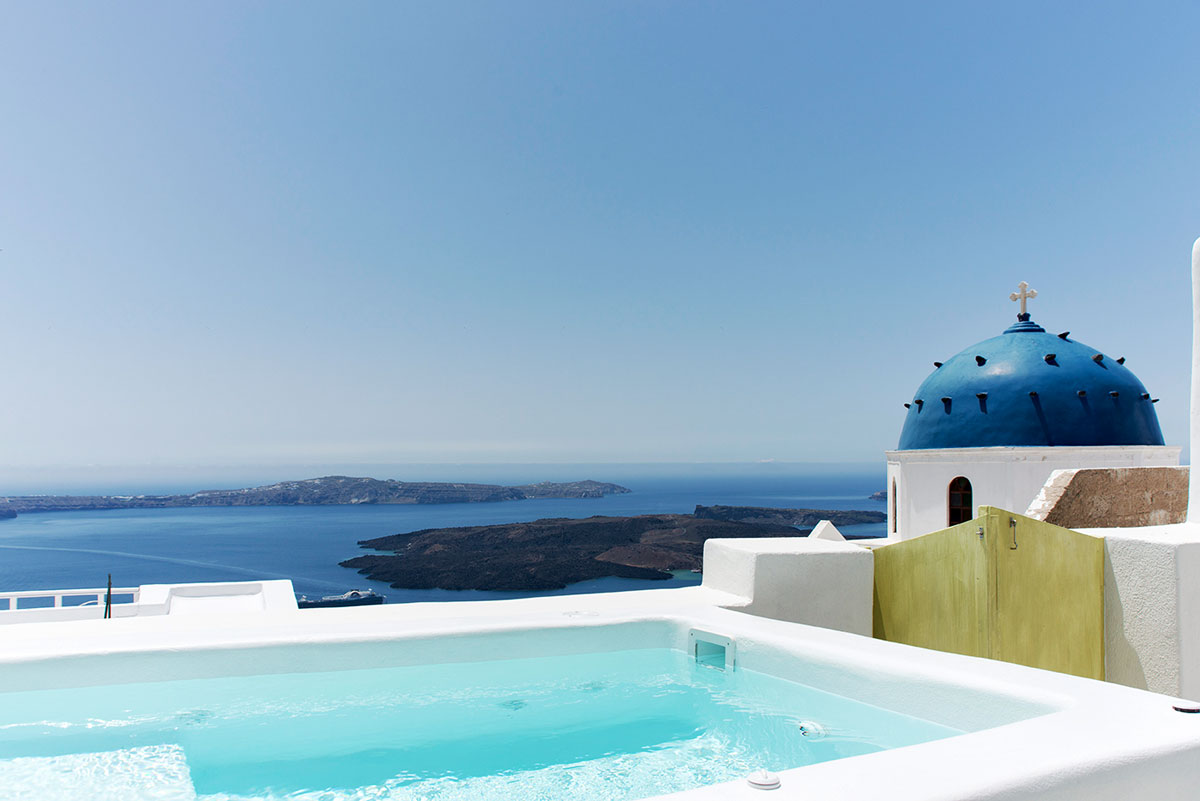 Santorini Cave House with jacuzzi and view to caldera - Panoramic