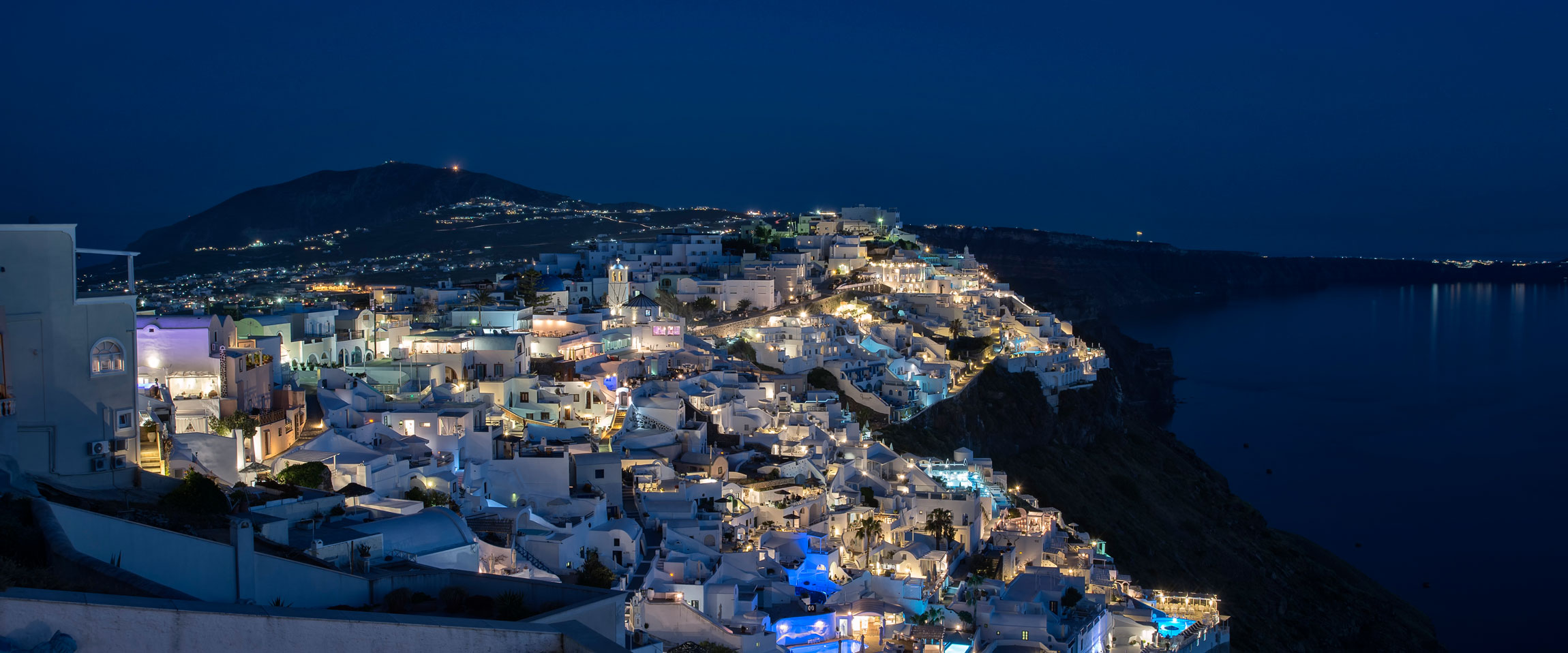 Santorini by the night | Fira view from hotel