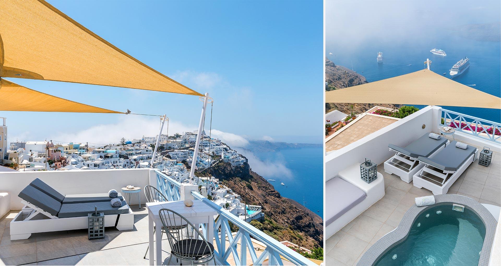 honeymoon suites apartmens panoramic view santorini bluedolphins 2