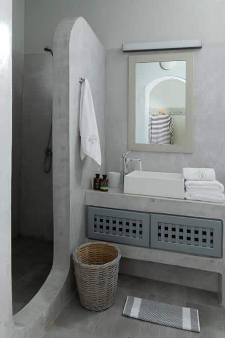 apartments in santorini bluedolpins comfortable bathroom 11