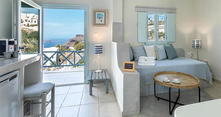 family suites with private balcony santorini bluedolpins ant
