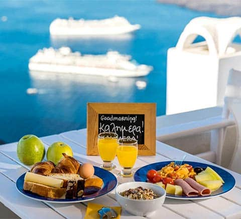 goodmorning breakfast with cruises bluedolphins santorini 1