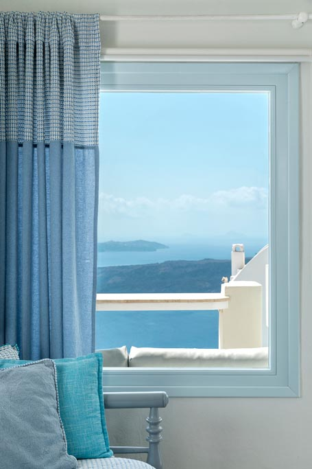 romantic suite with private balcony santorini bluedolphins 03