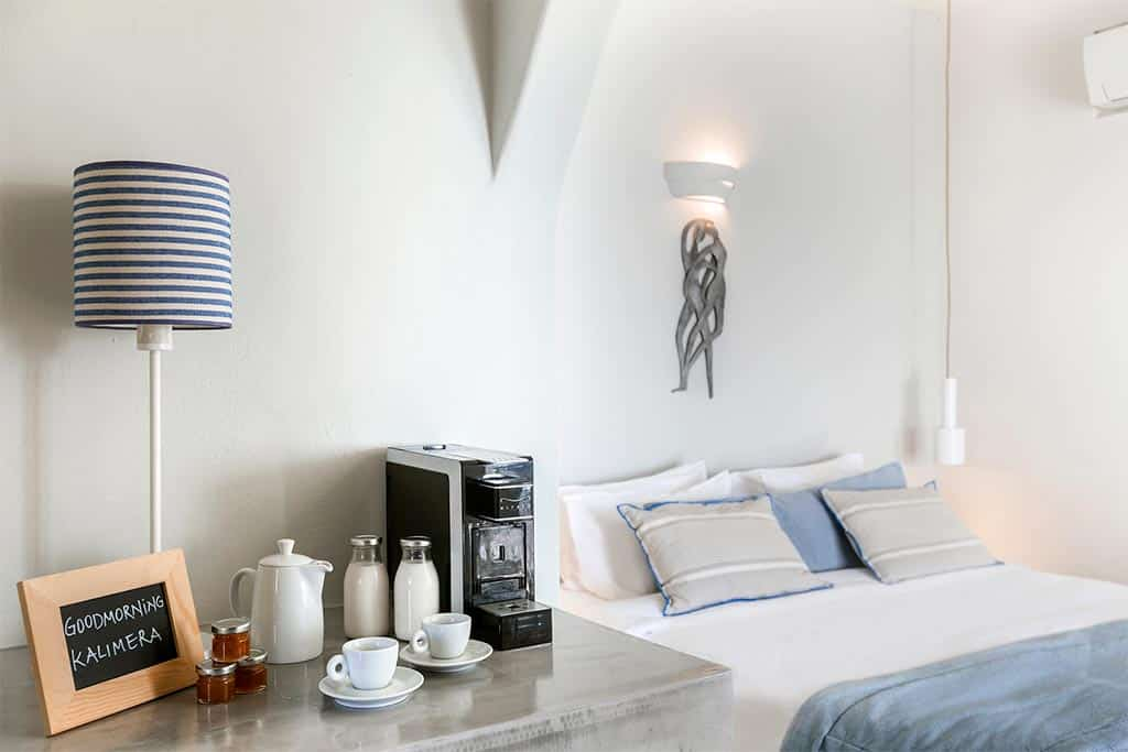 romantic suite with private balcony santorini bluedolphins 08