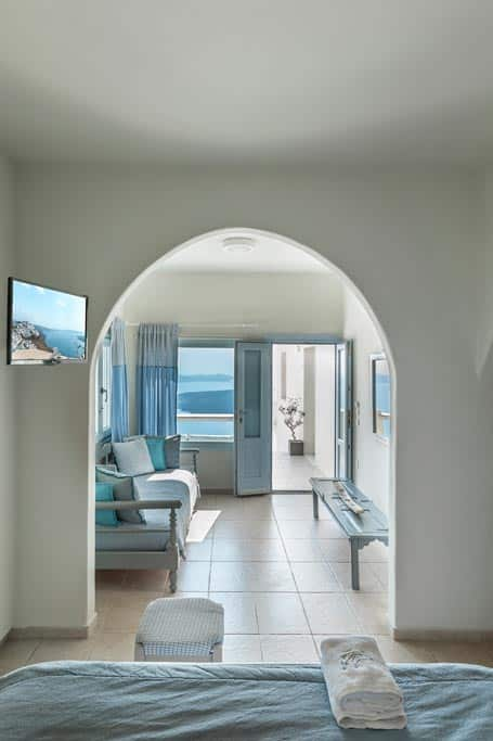 romantic suite with private balcony santorini bluedolphins 111
